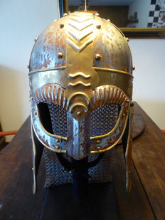 Steel/brass hand-forged Viking helmet, with 'spectacle guard' + mail.
