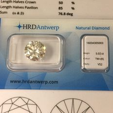 5,02 ct. round cut diamond K VS2