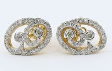 14 kt yellow gold and diamond earring studs in 14 kt  hallmarked