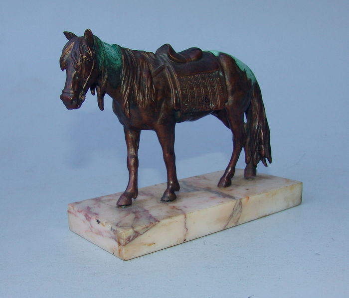 Bronze horse sculpture, surrounds Lanceray or Wolf