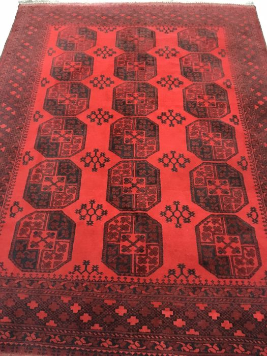 tapis persan afghan rouge lumineux fin du xxe sicle 210 x 284 cm - Tapis Persan Rouge