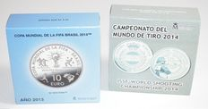 Spain - 10 Euros, 2013 and 2014 (2 different ones) - silver