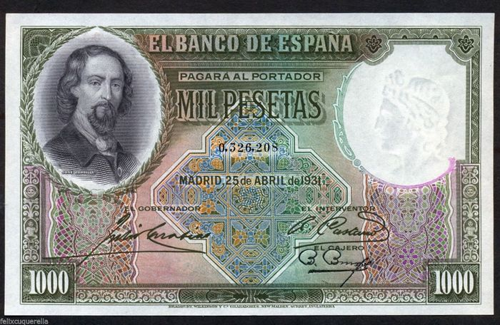 Spain - 1000 Pesetas 1931 - NO SERIAL - Pick 84A