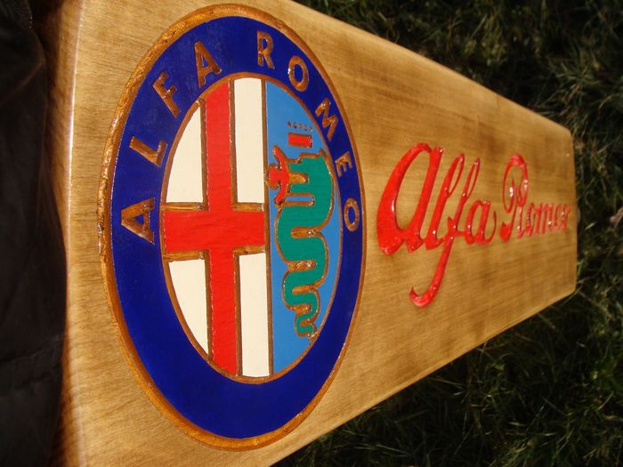 Alfa Romeo - Large unique handmade carved logo made from wood - 101 x 27 cm