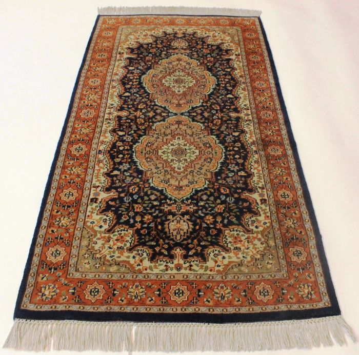 Magnificent handwoven Oriental carpet, Indo Nain carpet, 78 x 160 cm, made in India at the end of the 20th century, very good