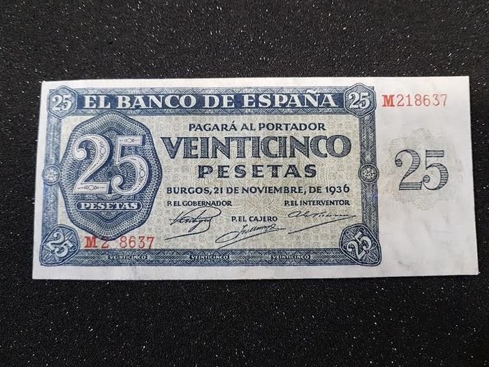 Spain - 25 Pesetas - Burgos, 21st November 1936 - Pick 99a