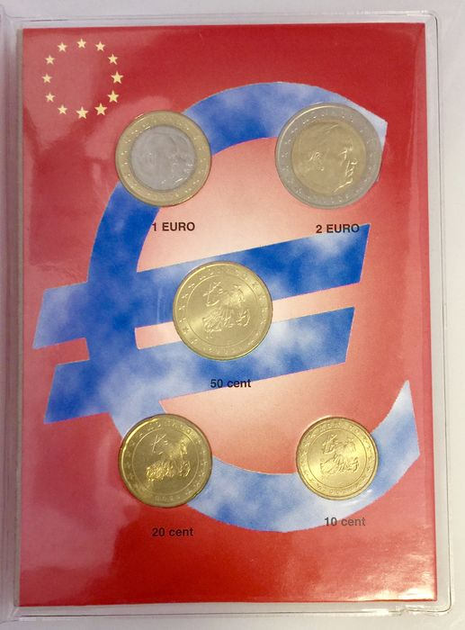 Monaco - Coin set 10, 20 and 50 cents + 1 and 2 Euros 2002 in red Euro pocket
