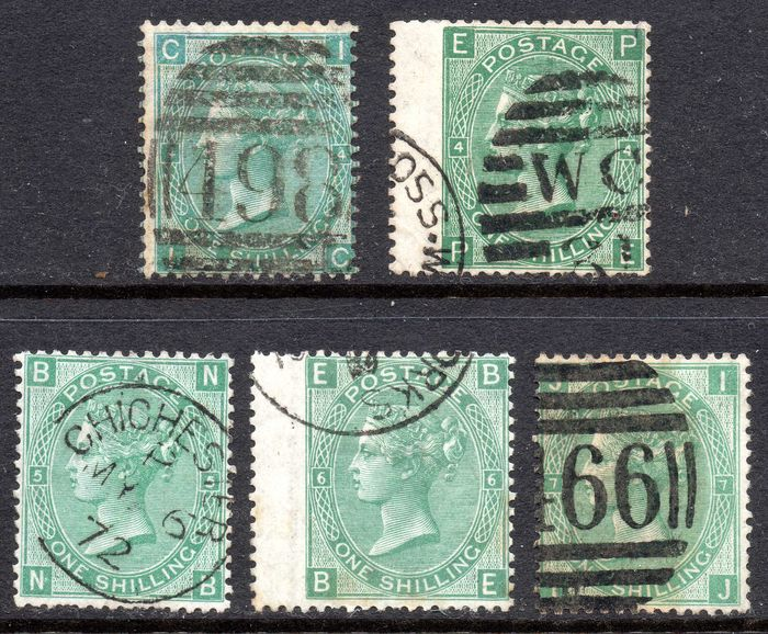 Great Britain 1865/73 - Queen Victoria One Shilling Green Plates 4 (x2), 5, 6 and 7 - Stanley Gibbons 101/115/117