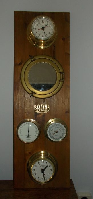 various ship's clocks and gauges