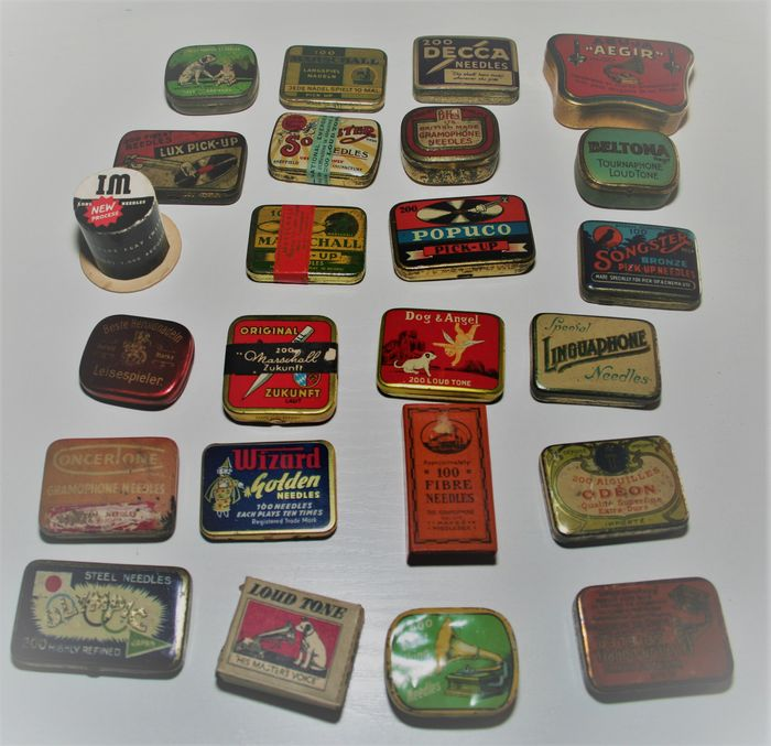 24 Gramophone needle tins: Songster, Odeon, Beltona, Olympia, Wenglein, etc.