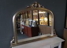 Overmantle mirror with openwork ornament - hand gilded - silver, 21st century