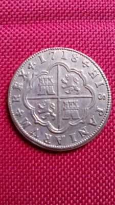 Spain – Felipe V – Two reales silver coin – 1718 – Segovia