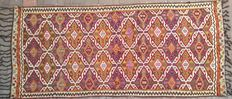 275 x 168 cm. 4.62 m2. Large. Handwoven. Woolen. Natural Dye. Turkish Kilim rug. About 50-60 years old.