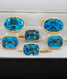 Cufflinks & Buttons with 29.18 carat Swiss blue Topaz -** NO RESERVE PRICE **
