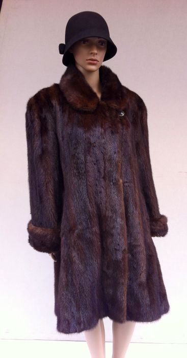 Mink fur coat with half-belt