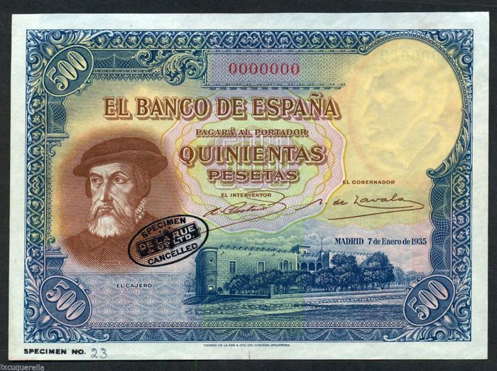 Spain - 500 Pesetas 1935 - NO SERIAL - SPECIMEN - Different watermark without face  - Pick 89