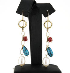 18 kt (750/1000) yellow gold - Pacific coral, turquoises and freshwater pearls - measurements: 65.00 mm (approx.)