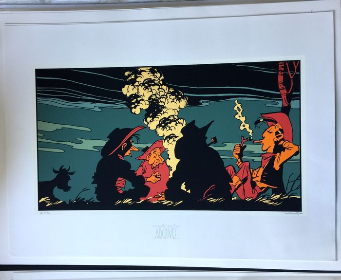 Morris - Silkscreen print Archives Internationales - Feu de camp - Lucky Luke - Hors Commerce - (1997)