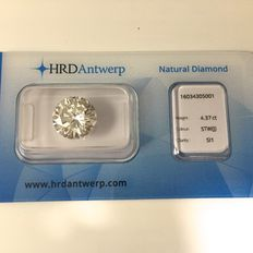 4,37 ct. round cut diamond J SI1