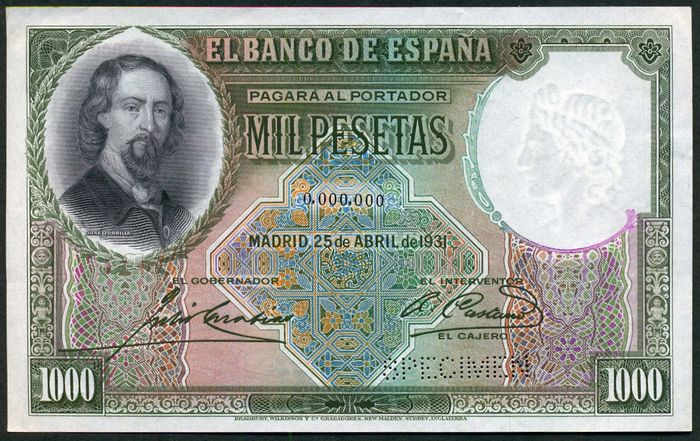 Spain - 1000 Pesetas 1931 - NO SERIAL - SPECIMEN - Pick 84As