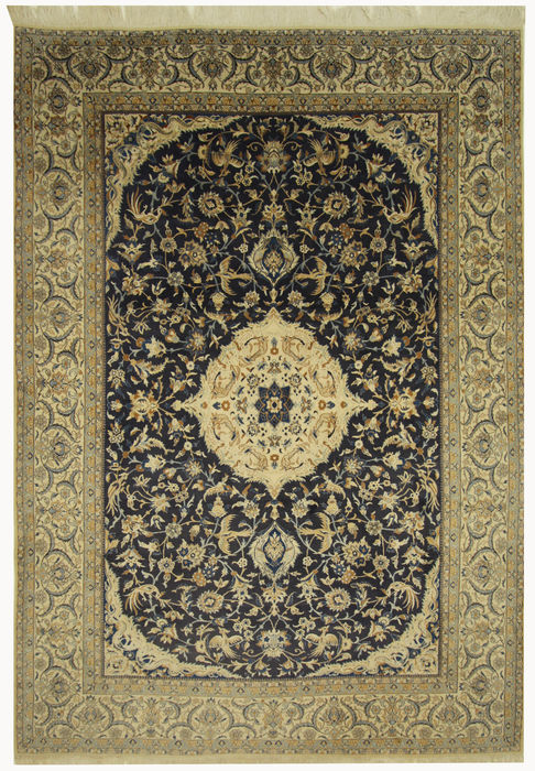 beau tapis persan na n tapis oriental nou la main bleu laine neuve avec soie sur coton. Black Bedroom Furniture Sets. Home Design Ideas