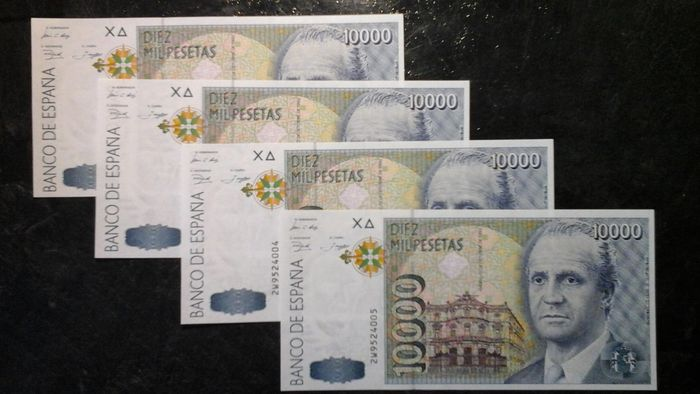 Spain - 4 x 10.000 pesetas - consecutive numbers - Pick 166