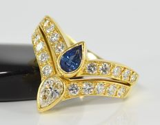 0.93 ct diamond and 0.34 ct sapphire ring in 18 kt gold * no reserve *