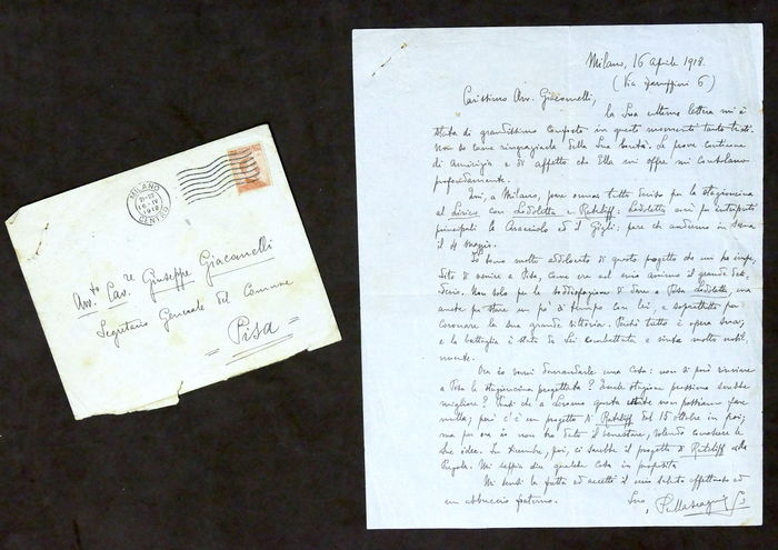 Autograph; Handwritten letter of Pietro Mascagni to his friend about Lodoletta and Ratcliff Opera - 1918