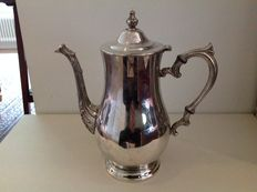 Silver plated tea pot with graceful handle and spout