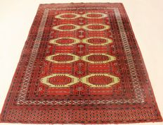 Oriental carpet, Buchara Jomut rug around 1980/1990 pattern, made in Pakistan, 125 x 182 cm