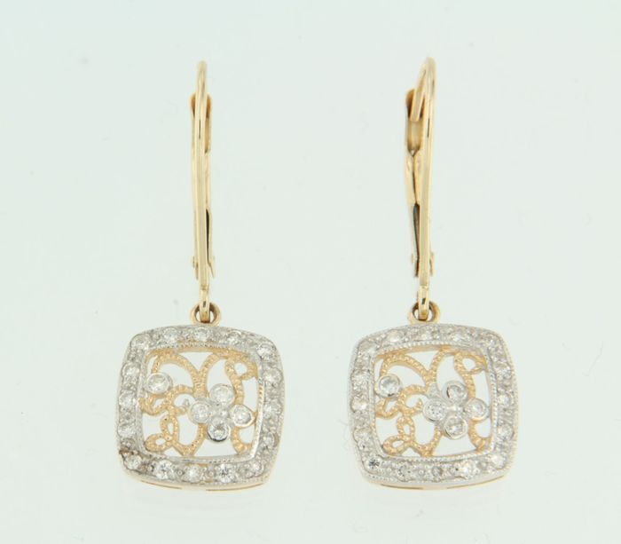 14 kt bi-colour gold dangle earrings, set with brilliant cut diamonds