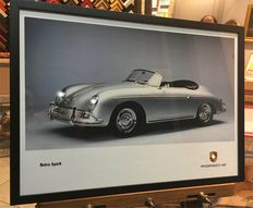 Porsche 356 Speedster - Poster with lighted headlights and logo - 61,2 cm x 44,6 cm