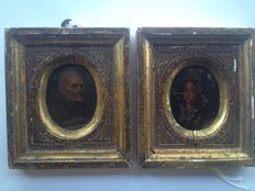 European School - two portrait miniatures, one depicting an old man, the other a young woman-oil on copper - 17th/18th century