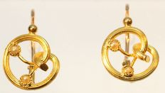 Late Victorian/early Art Nouveau FIX earrings with pearls - France 1890 - No Reserve Price!