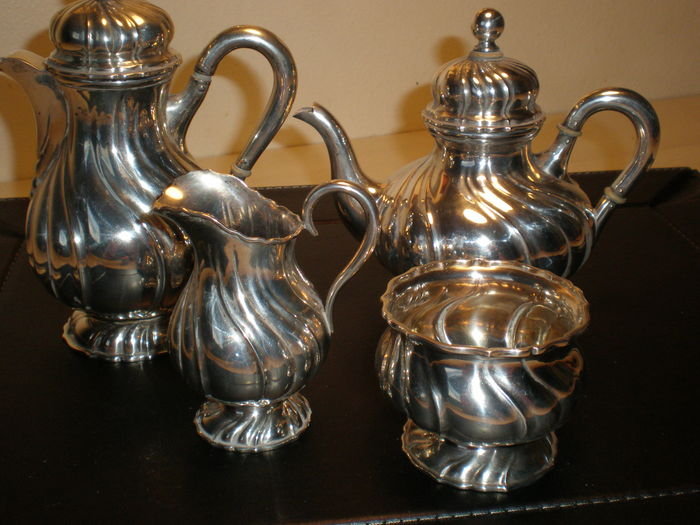 Coffee pot, teapot, milk jug and sugar bowl, silver 800/1000 Germany