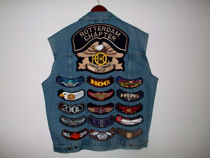 Denim Vest Xl With Harley Davidson Hog Patches And Pins Catawiki