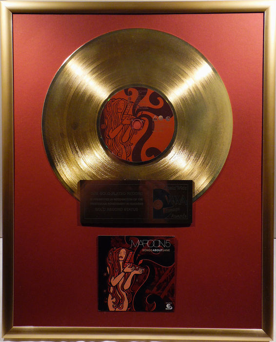 "Maroon 5 - Songs about Jane - 12"" german gold plated record with CD and cover by WWA gold Awards"