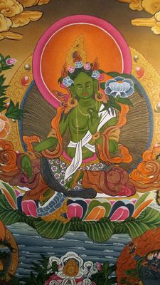 Thangka representing Green Tārā - Nepal - second half of the 20th century.
