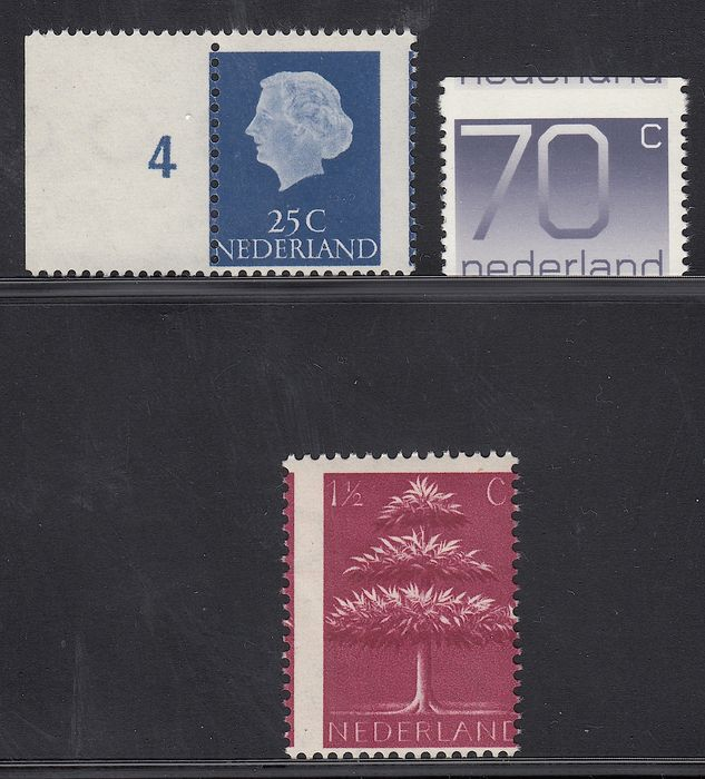 The Netherlands 1941/1976 – German symbols, Queen Juliana and Crouwel, with misprint – NVPH 405, 623 and 1117A with strongly shifted perforation