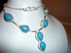 925 Sterling Silver Turquoise Necklace - 6 medallions, drop shape