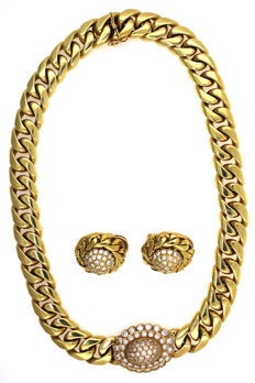 Luxurious necklace set in yellow - 7505 gold 147 brilliants, 5.98 ct vvsi Tw total of 227.10 g