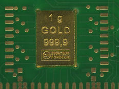 1 gram fine gold bar in genuine circuit board - with certificate - unusual packaging design