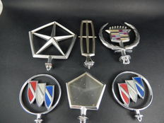 Vintage USA Chrome Hood Ornaments Mascots including Chrysler, Cadillac, Lincoln and Buick examples