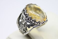 Silver Men's Ring - Natural Agate