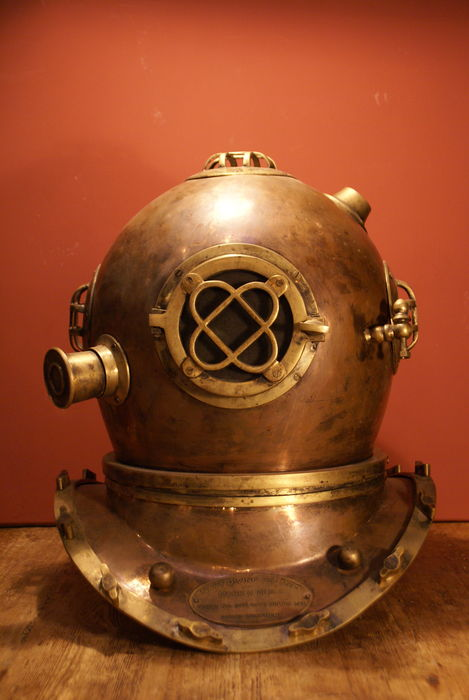 Brass diving helmet-red copper, brass and glass, full size