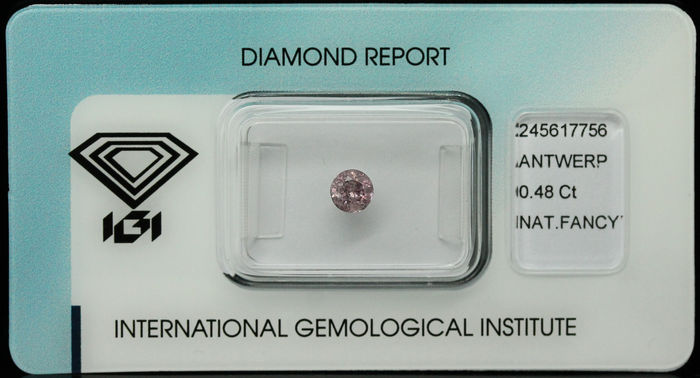 Diamante naturale fancy rosa grigiastro intenso da 0,48 ct – SENZA RISERVA