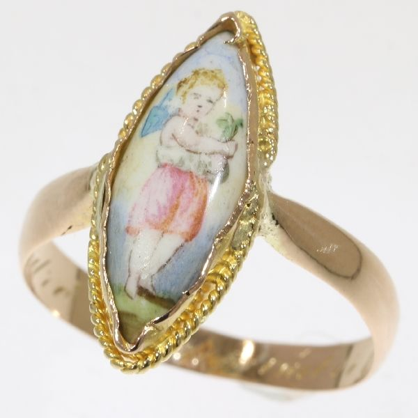 Victorian marquise shaped gold ring with enamelled scene of a cute little child