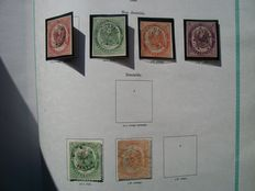 France 1868 - telegraph stamps – Yvert nº 1 to 4 and 6/7