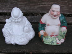 "Two sculptures depicting the ""Laughing Buddha"" and Laozi - China - Second half of the 20th century"