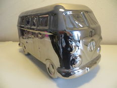 Volkswagen van in silver-coloured or chrome-plated earthenware - 25 x 13 x 12 cm